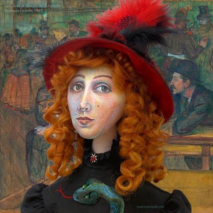 Jane Avril muse at Moulin de la Galette by Toulouse-Lautrec, 1889.