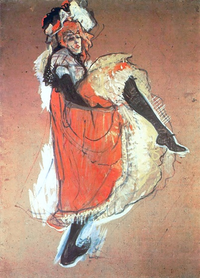 Jane Avril dancing 1893, Toulouse-Lautrec, 1893.