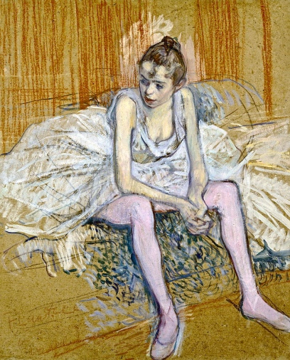 A Seated Dancer With Pink Stockings, 1890, by Henri de Toulouse-Lautrec.