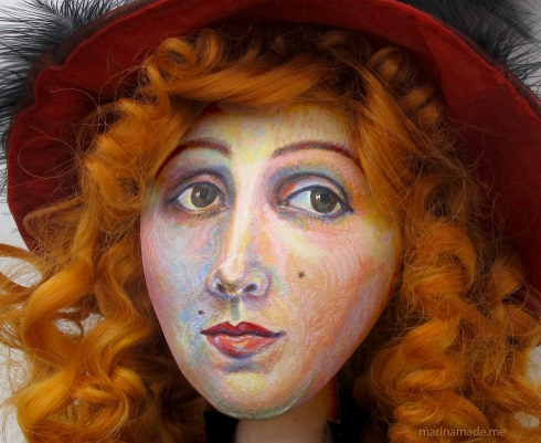 Detail of painted face, Jane Avril muse, by Marina Elphick.