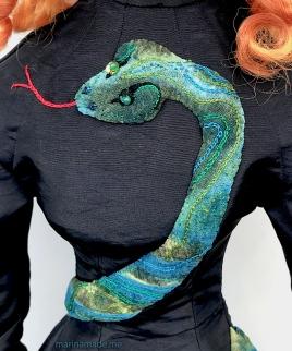 Detail of snake on Jane Avril's dress, by Marina.