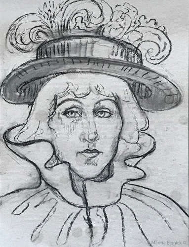 Drawing of Jane Avril wearing her hat, charcoal, Marina Elphick 2020.