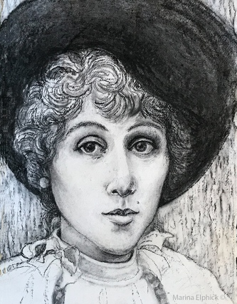 Drawing of Jeanne Beaudon, by Marina Elphick 2020.