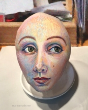 Face painting of Jane Avril in progress.