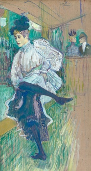 Jane Avril dancing 1892, Pastel drawing by Henri Toulouse-Lautrec.