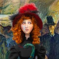 Jane Avril and Boneless Valentin, detail from 'At the Moulin de la Galette' by Henri de Toulouse-Lautrec, 1887.