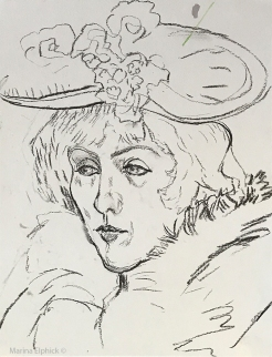 Charcoal sketch of Jane Avril, by Marina Elphick.