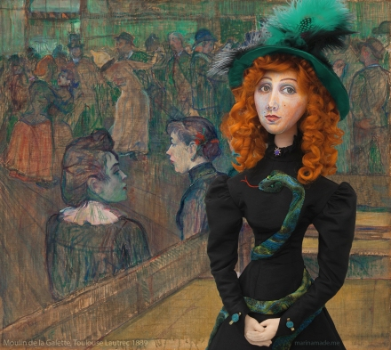 Jane Avril muse at Moulin de la Galette by Toulouse-Lautrec, 1889.