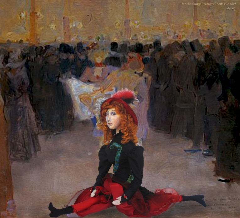 Jane muse displaying her agility at 'The Moulin Rouge', by Charles Conder 1890.
