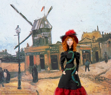 Jane Avril muse outside the 'Moulin de la Galette', painted by Vincent Van Gogh, 1886.