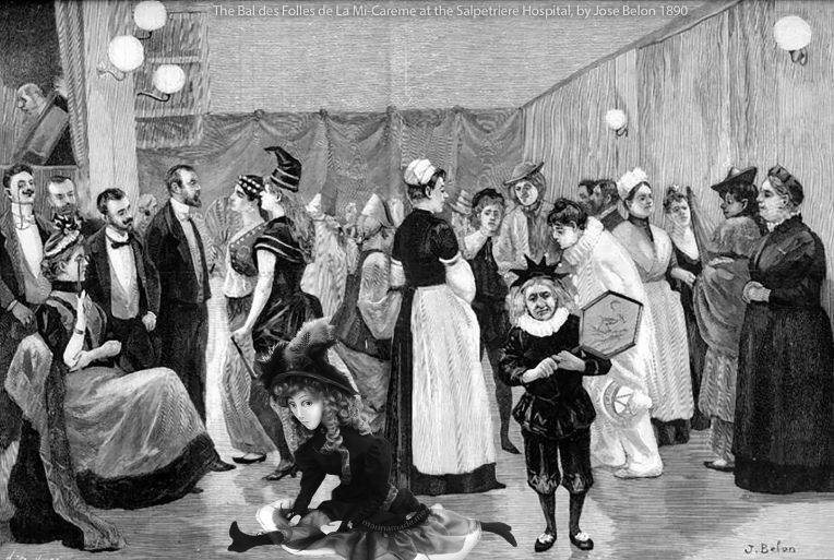 Jeanne muse dancing at The bal des folles de la Mi-Carême at the Salpetrière hospital, represented from life by José Belon, Paris 1890.