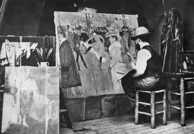 Henri de Toulouse-Lautrec paints 'The Moulin Rouge' in his studio. Photograph by Maurice Guibert 1890.