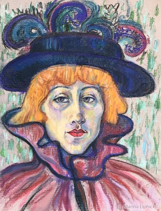 Pastel Drawing of Jane Avril, Marina Elphick 2020.