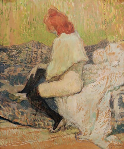 Red haired woman on a sofa, 1897 by Toulouse-Lautrec.