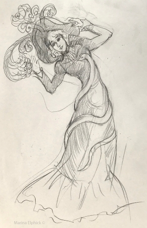 Sketch of Jane in her snake dress, by Marina Elphick.