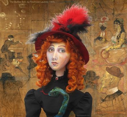 Jane Avril at 'The Bullier Ball' by Henri de Toulouse-Lautrec.