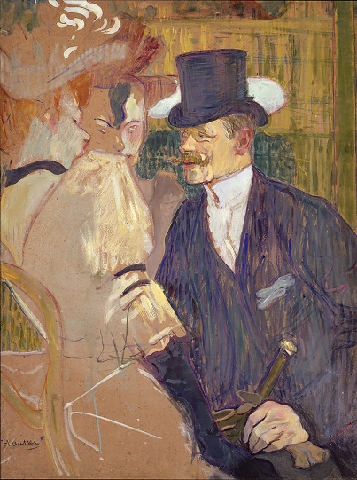The Englishman at the Moulin Rouge, 1892 by Henri de Toulouse-Lautrec. Could it be Jane Avril in the foreground ?