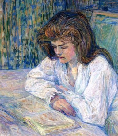 The Reader, 1889 by Henri De Toulouse-Lautrec. Paint and pastel on board.