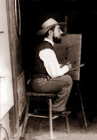 Henri de Toulouse-Lautrec painting at his easel.