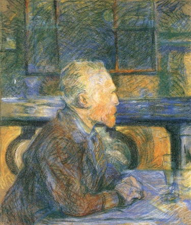 Vincent van Gogh ,1887 Pastel on cardboard by Henri de Toulouse-Lautrec. Both artists lived in Monmartre and frequented the same cafes and brothels.