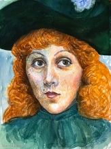 Watercolour painting portraying the young Jeanne Beaudon, by Marina Elphick 2020