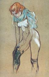 Woman pulling her stockings, pastel and paint on board, by Henri de Toulouse-Lautrec, 1894.