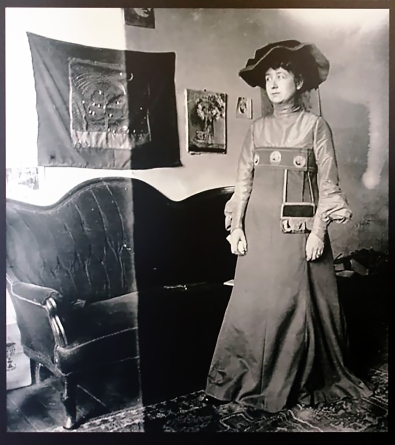 Gabriele Münter in 1906. Dress designed by Kandinsky, sewn and worn by Gabriele Münter, who regularly made her own clothes. It was this image that inspired my muse's dress.