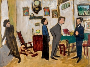 After Tea II (Kandinsky with the Art Dealer Goltz at Aimiller strasse 36, Munich), Gabriele Münter, 1912.