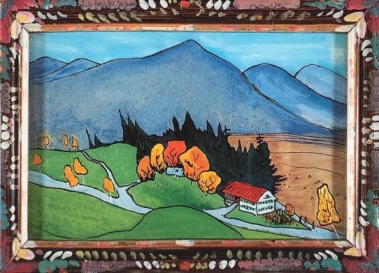 Bavarian Landscape with farmhouse 1911, glass painting, Gabriele Münter.