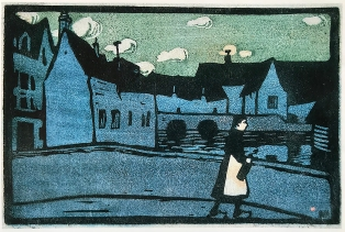 Bridge in Chartres 1907, linocut, by Gabriele Münter.