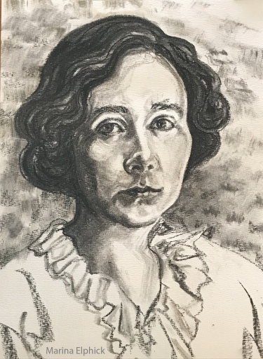 Charcoal drawing of Gabriele Münter by Marina Elphick.