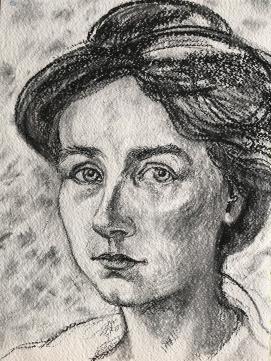 Charcoal study of Gabriel Münter, by Marina Elphick, 2020.