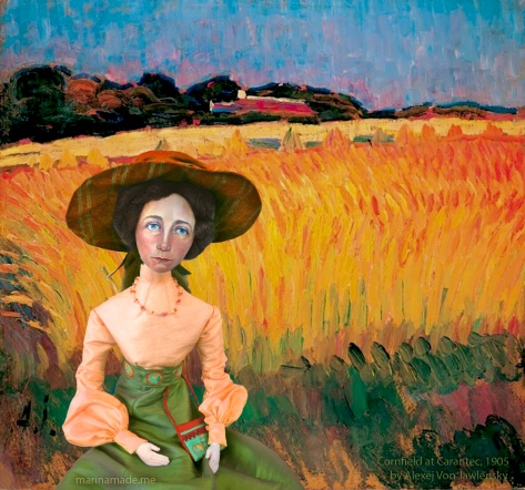 Muse in Cornfield at Carantec, France 1905, painting by Alexej von Jawlensky.