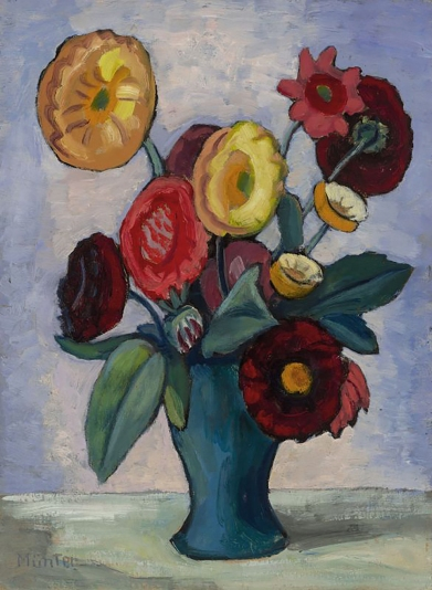 Dahlias, by Gabriele Münter , 1945.
