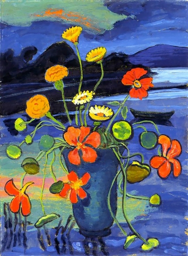 Flowers in a Landscape, Gabriele Münter, 1945.