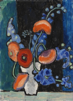 Poppies and bell flowers in a vase, Gabriele Münter.