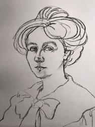 Drawing of Gabriele, charcoal. Marina Elphick.