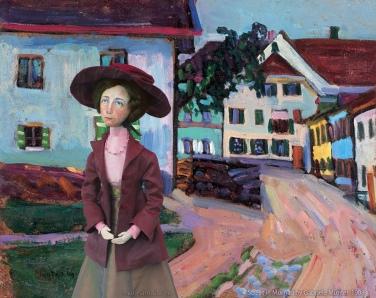 Gabriele muse in 'Street in Murnau', 1908, Gabriele Münter.