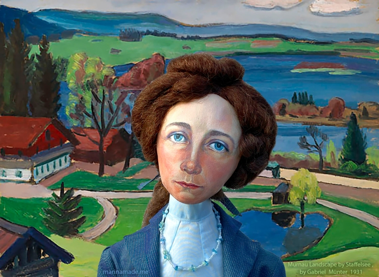Gabriele muse in Murnau Landscape by Staffelsee, by Gabriele Münter, 1931.