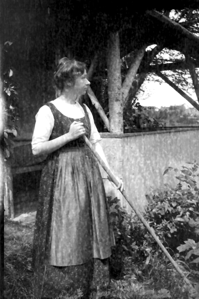 Gabriele Münter in the garden at the Russian house, Photograph by Wassily Kandinsky.