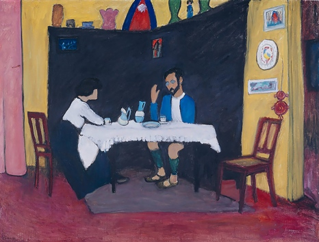 Kandinsky and Erma Bossi at the Table (After the Meal) by Gabriele Münter 1912.
