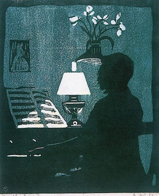 Kandinsky on the Harmonium 1907, linocut by Gabriele Münter.