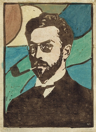 Portrait of Kandinsky, coloured woodcut, by Gabriele Münter, 1906.