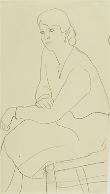 Seated woman, drawing by Gabriele Münter, 1920.