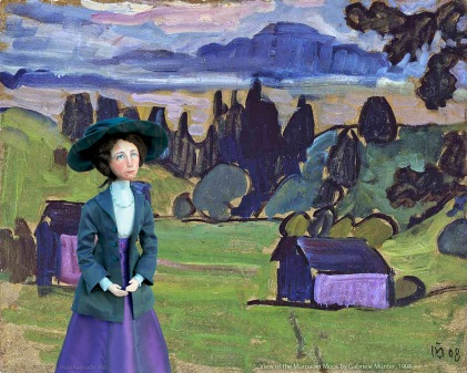 Muse of Gabriele in photomontage with, View of the Murnauer Moos, by Gabriele Münter 1908.