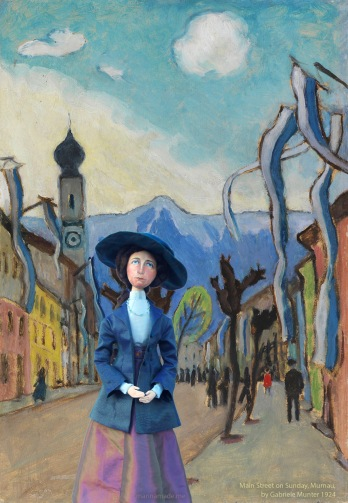 Gabriele muse in 'Main Street on Sunday Murnau', by Gabriele Münter 1924.
