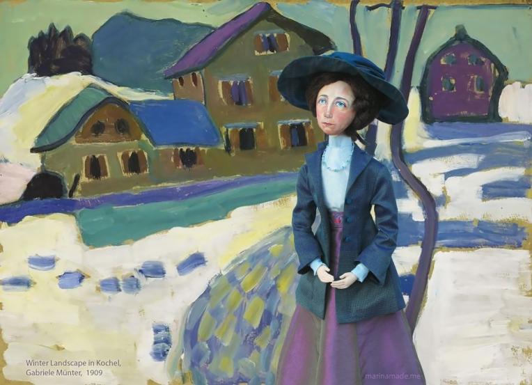 Gabriele muse in Winter Landscape in Kochel, painted by Gabriele Münter, 1909.