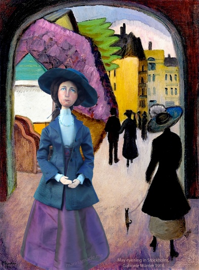 Gabriele muse, May evening in Stockholm Gabriele Münter Painting, 1916.