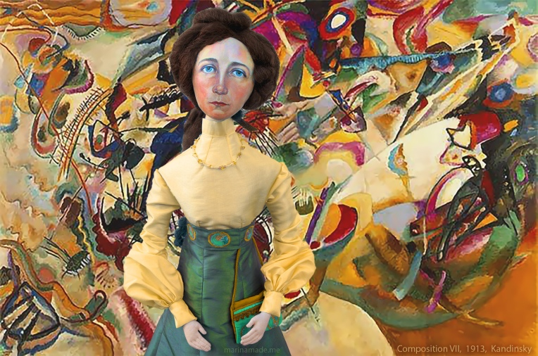 Gabriele muse with Composition VII, by Kandinsky, 1913. Soft sculpture in photomontage, Marina Elphick.