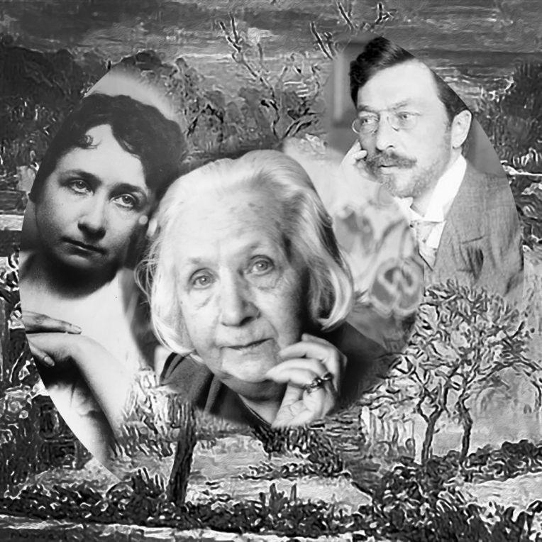 Gabriele Münter from youth to old age, first woman Modernist, colourist and Expressionist. Photomontage by Marina Elphick.